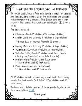 Math and Literacy Printables BUNDLE (2nd/3rd grade)