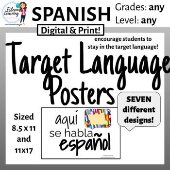 "Spanish - Target Language Posters - ""Aquí Se Habla Español"""