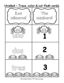 ¡Arañas! Spider theme Spanish number color & cut flash card + trace and write