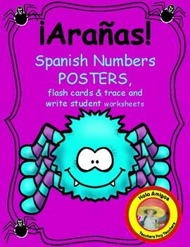 ¡Arañas! Spider theme Spanish number color & cut flash car