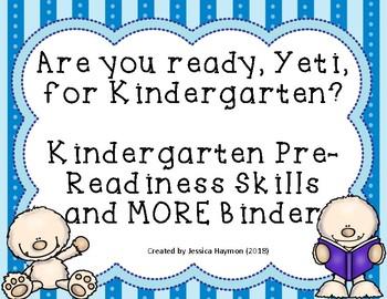 """Are You Ready, Yeti, for Kindergarten?"" Activity Binder"