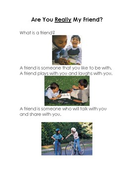 """""""Are you really my friend"""" social story"""