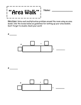 """Area Walk""--Multiplication using Area Model -- CCRS and DoDea/DoDDS Aligned"