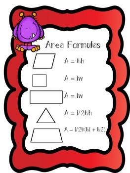 **Area of Polygons Formulas Freebie**