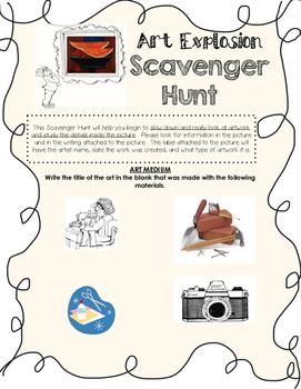 """""""Art Explosion"""" Scavenger Hunt"""