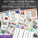Art Task Cards and Prompts for Early Finishers - 32 Art Tasks & 120 Prompts