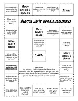 """Arthur's Halloween"" Comprehension Game Board"