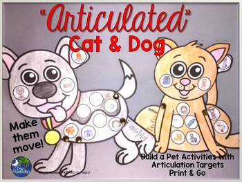 """""""Articulated"""" Cat and Dog Activities Print & Go"""
