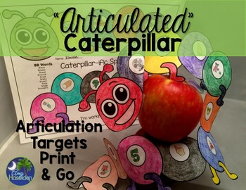 """Articulated"" Caterpillar Speech Therapy Print & Go All Sounds"