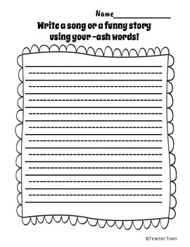 -Ash Word Family Phonics Activities and Centers