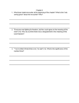 """""""Ashes""""- Chapter-by-Chapter Reading Comprehension Questions"""