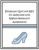 """""""Ashputtle"""" by the Grimm Brothers Vocabulary Quiz and Homework"""