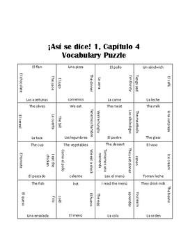 ¡Así se dice! ASD 1.4 Vocabulary Puzzle Translations