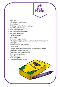 """Ask Your Mentor"" Mini Checklist for Pre-Service Teachers"