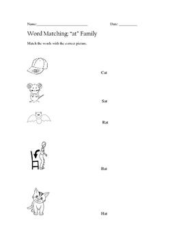 """At"" Family Word Matching Worksheet"