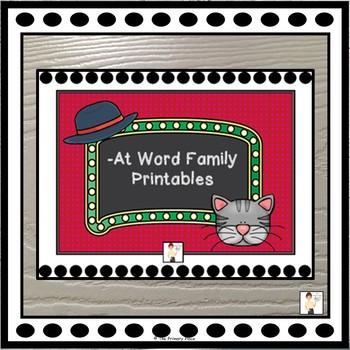 -At Word Family Printable Worksheets