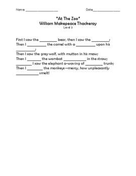 """""""At the Zoo"""" Memorization Worksheets"""