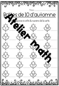 [Atelier math]  L'automne - Boîtes de 10