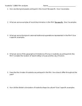 """Australia"" (2008) Film Analysis Worksheet for World Geography"