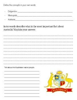 (Australia Geography) Australia Fun Facts-Reading Research Guide