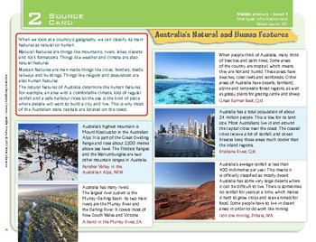 """""""Australia's Natural and Human Features"""" Year 3 Card 2 Australian Geography Ctr."""