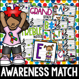 """""""Autism Awareness"""" Music Notes Matching Flashcard Fun!  Treble and Bass Clefs"""