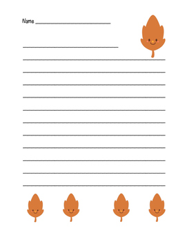 """""""Autumn Happy Leaf 1"""" Writing Sheets!  Autumn FUN! (Color and Black Line)"""