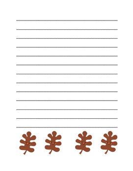 """Autumn Happy Leaf 2"" Writing Sheets!  Autumn FUN! (Color)"