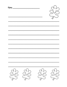 """""""Autumn Happy Leaf 2"""" Writing Sheets!  Autumn FUN! (Color and Black Line)"""