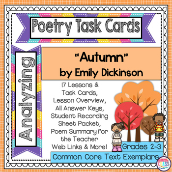 """Poetry Task Cards Mini Unit  """"Autumn"""" by Emily Dickinson - Poetry Analysis"""