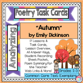 "Poetry Task Cards ""Autumn"" by Emily Dickinson  Poetry Analysis"