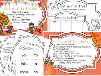 """Autumn is Here""- Fall Poem with Worksheets and Lesson Plans"