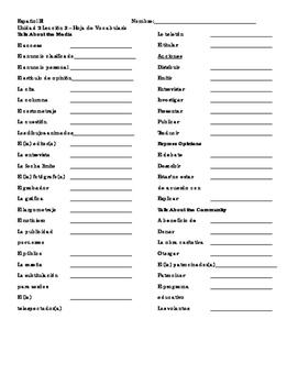 ¡Avancemos! Level III Unidad 2 Lección 2 Vocabulary Sheet