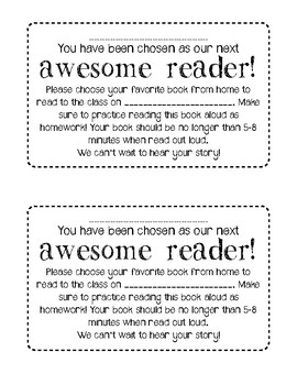 """""""Awesome Reader"""" Note Home FREEBIE!"""