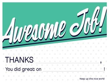 """Awesome job"" reward certificate"