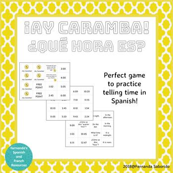 ¡Ay Caramba! Game to review how to tell time in Spanish!