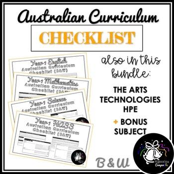 (B&W) YEAR 1 AUSTRALIAN CURRICULUM CHECKLIST BUNDLE