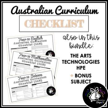 (B&W) YEAR 10 AUSTRALIAN CURRICULUM CHECKLIST BUNDLE