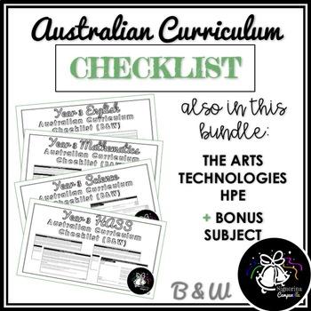 (B&W) YEAR 3 AUSTRALIAN CURRICULUM CHECKLIST BUNDLE