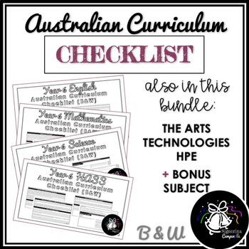 (B&W) YEAR 6 AUSTRALIAN CURRICULUM CHECKLIST BUNDLE
