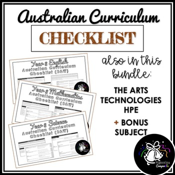(B&W) YEAR 8 AUSTRALIAN CURRICULUM CHECKLIST BUNDLE