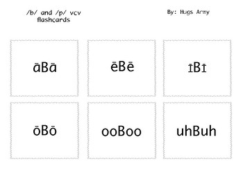 /B/ and /P/ vcv Flashcards