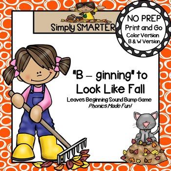 """B-ginning"" to Look Like Fall:  NO PREP Beginning Sounds Bump Board Game"