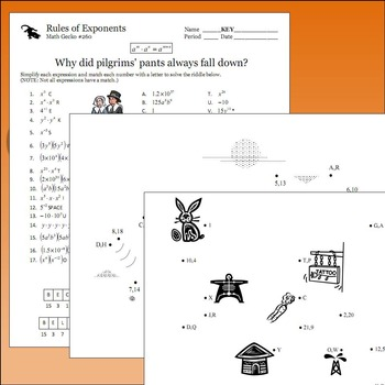 Rules of Exponents Bundle