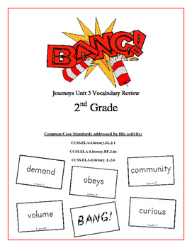 """BANG!"" 2nd Grade Houghton Mifflin Journeys Unit 3 Vocabulary Game Packet"