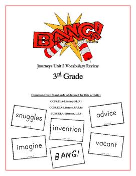 """BANG!"" 3rd Grade Houghton Mifflin Journeys Unit 2 Vocabulary Game Packet"