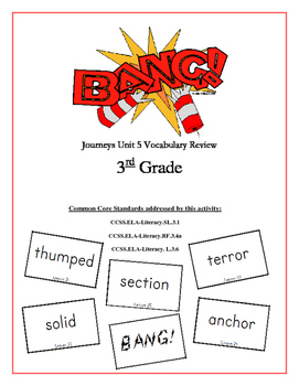 """BANG!"" 3rd Grade Houghton Mifflin Journeys Unit 5 Vocabulary Game Packet"