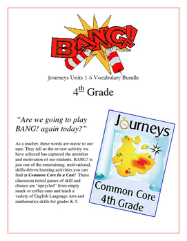 """BANG!"" 4th Grade Houghton Mifflin Journeys Units 1-6 Vocabulary Bundle"