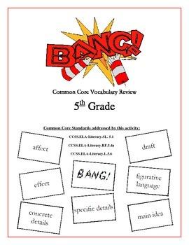"""""""BANG!"""" 5th Grade Common Core ELA Vocabulary Game Packet"""