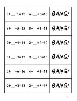 """""""BANG!"""" Addition & Subtraction 1st Grade Common Core Game Packet"""